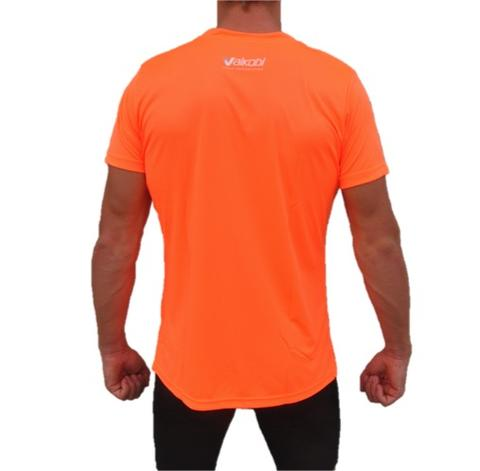 fluro orange short sleeve tshirt as shown from back
